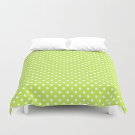 Bright green background with polka dot Duvet Cover