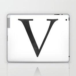 Letter V Initial Monogram Black and White Laptop & iPad Skin