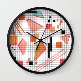 Seamless school geometric memphis shapes pattern striped lined background Wall Clock