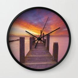 II - Seaside jetty at sunrise on Texel island, The Netherlands Wall Clock