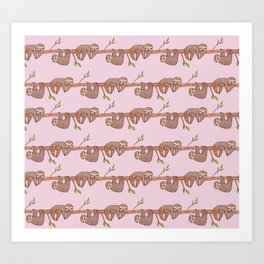 Lazy Baby Sloth Pattern in Pink Art Print