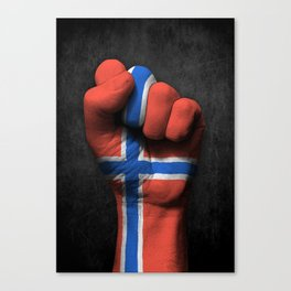 Norwegian Flag on a Raised Clenched Fist Canvas Print