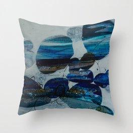 River Rock Blue Throw Pillow