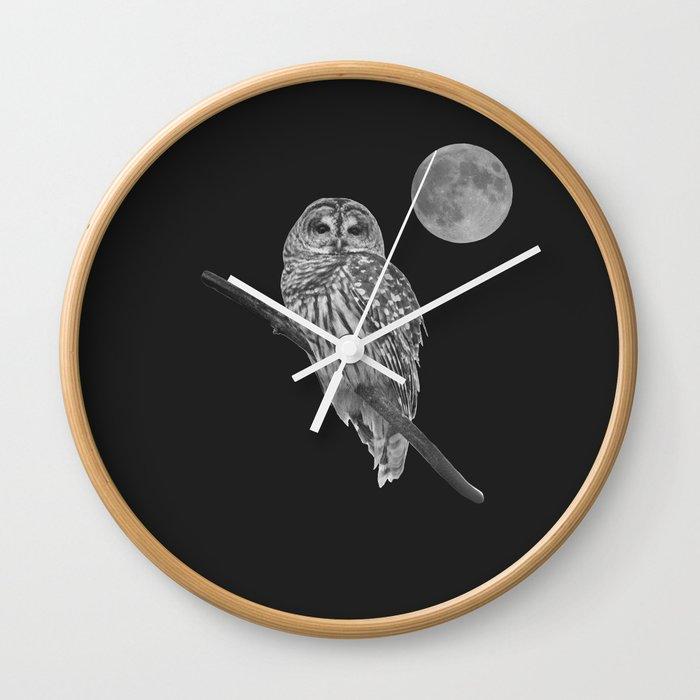 Owl, See the Moon (bw) Wall Clock