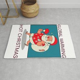 Christmas-santa global warming theme Rug