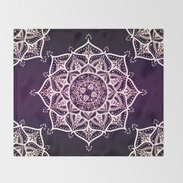 Violet Glowing Spirit Mandala Throw Blanket