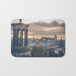 Edinburgh city and castle from Calton hill and Stewart monument Bath Mat