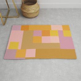 Modern Vintage Patchwork Squares in Lavender, Lilac, Mustard, and Orange Rug