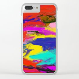 Rainbow Abstract II Clear iPhone Case