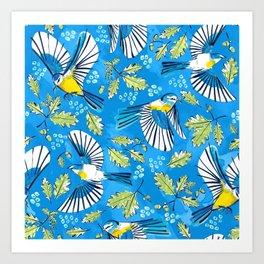 Flying Birds and Oak Leaves on Blue Art Print