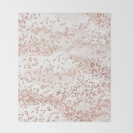 Elegant abstract rose gold girly confetti Throw Blanket