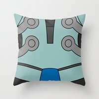cassia beck Throw Pillows featuring Mighty No. 9 Beck Suit by Bunny Frost