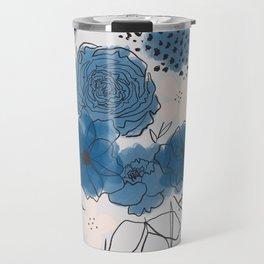 Blue Floral Bouquet Travel Mug