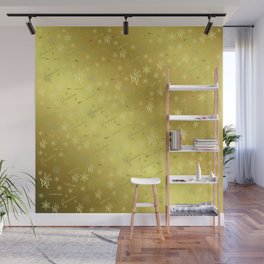 grandma Golden merry christmas font with stars, ornaments elegant festive gold hearts in gold Wall Mural