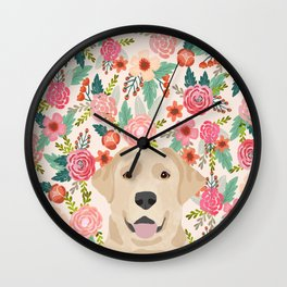 Labrador Retriever yellow lab floral pattern cute florals dog breed pure breed dog lover gifts Wall Clock