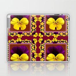 MAROON QUATREFOIL PURPLE & YELLOW SPRING PANSIES Laptop & iPad Skin