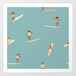 Surf girls Art Print