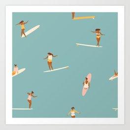 Surf girls Kunstdrucke