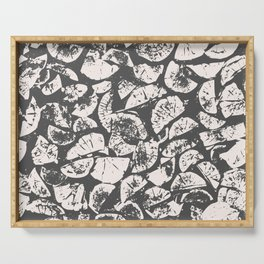 abstract pattern, Firewood texture, tree cut, gray and beige grunge wood background Serving Tray