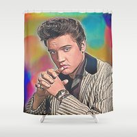 elvis presley Shower Curtains featuring Elvis Presley by Enna