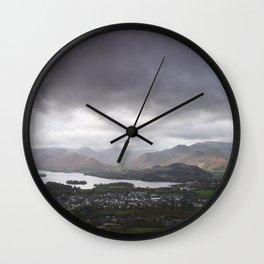 Rain clouds over Derwent Water and Keswick. Cumbria, UK. Wall Clock