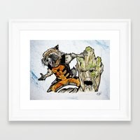 rocket raccoon Framed Art Prints featuring Rocket Raccoon and Groot by artbyteesa
