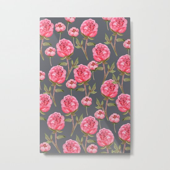 Pink Peonies On Grey Background Metal Print