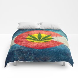 Retro Colorado State flag with leaf - Marijuana leaf that is! Comforters