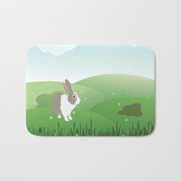 Dutch rabbit in field Bath Mat