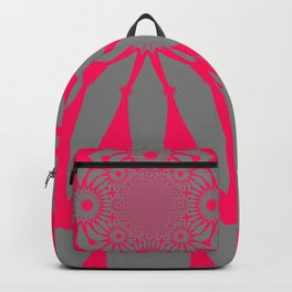 The Modern Flower Gray & Pink Backpack