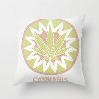 cannabis Throw Pillows featuring The Cannabis Case. by Space Jungle