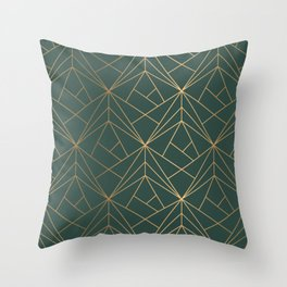 Olive Gold Geometric Pattern With White Shimmer Throw Pillow