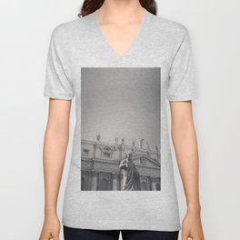 St. Peter's Basilica, Vatican City, Rome, architecture photography, black & white, Baroque Unisex V-Neck