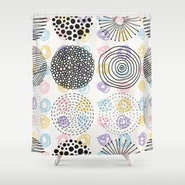 Black and colorful circles cute modern pattern Shower Curtain