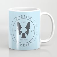 boston terrier Mugs featuring Boston Terrier by Lulo The Boston Terrier