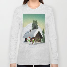 Christmas Snowman Scene Long Sleeve T-shirt