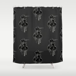 Rustic cowboy with rifle riding horse classic sketch Shower Curtain