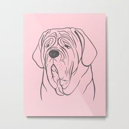 Neapolitan Mastiff (Pink and Gray) Metal Print