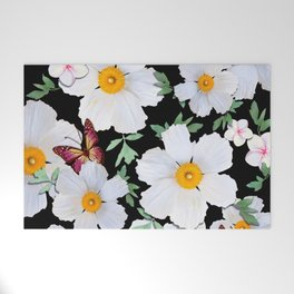 Matilija Poppies and Plumeria Welcome Mat
