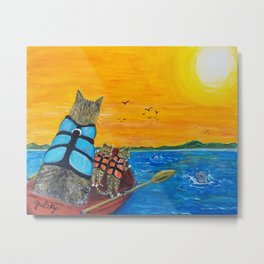 Cats in a boat watching dolphins Metal Print