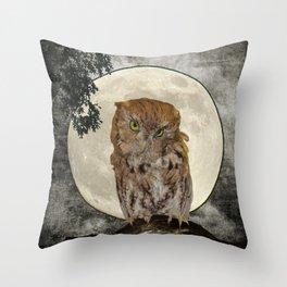 Rustic Adorable Owl Moon Bird  A272 Throw Pillow