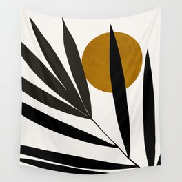 MINIMAL TROPICAL ART - LEAF AND SUN 03 Wall Tapestry
