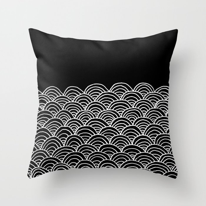 Black and White Waves Drawing Throw Pillow