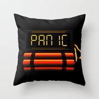 panic at the disco Throw Pillows featuring PANIC by Terry Mack