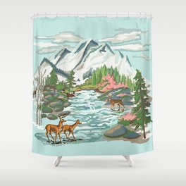 Paint by Number Mountain Medow Shower Curtain