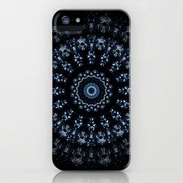 Kaleidoscope crystals in indigo blue on a black background iPhone Case