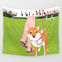 central park Wall Tapestries featuring Shiba inu in Central Park by Tatsuro Kiuchi