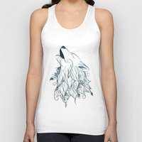 wolf Tank Tops featuring Wolf by LouJah