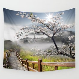 Japanese Cherry Landscape Wall Tapestry