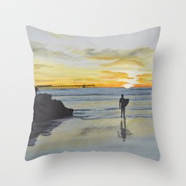 Dog Beach Surfer Throw Pillow